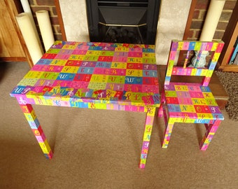 ABC Children's Table and Chair  Decoupage