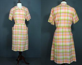 60's Shirtwaist Dress.....60's Pink Plaid Shirtwaist Dress XXL