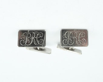 "Vintage Engraved ""JRC"" Initials Sterling Silver Cufflinks.  #JRC-CL1"