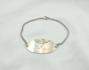 "Collectable Vintage WWII Aviator Sweetheart Sterling Silver Bracelet Engraved ""Arline from Barney 1943"".  #WWII-LB3"