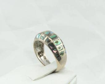 Unusual Vintage Sterling Silver and Abalone Shell Ring #ABALONE-SR1