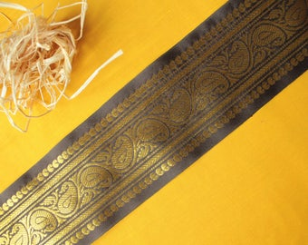 001# Paisley border, mocha and gold, 90 mm wide
