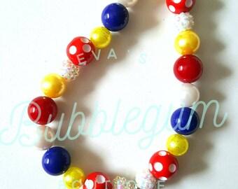 Snow Bubblegum Necklace, Snow White Inspired Chunky Necklace, Snow Toddler Necklace, Children's Fairytale Necklace