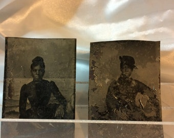 2 Civil War era TINTYPES of well dressed, lovely, African American Women
