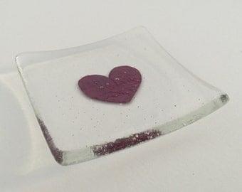 Handmade fused glass heart dish
