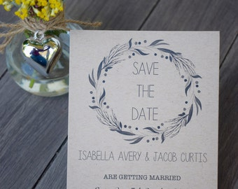 Kraft Wreath Save The Date Cards - Pack Sizes Available - Weddings/Engagement