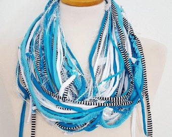 Aqua Blue Multi Strand Textile Fabric Frayed Style Necklace Multistrands  Azure Necklace Abstract  Scarf Necklace Infinity Scarves Hipster