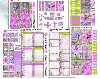 EASTER BEAUTY KIT! Planner stickers, Easter, lavender, pink, watercolor, flowers, Inkwell, Erin Condren, Happy Planner! {#K1706}