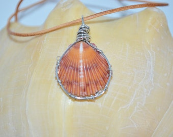 Necklace Scallop Shell, Orange Scallop Shell Necklace, Scallop on Leather Cord, Shell Necklace, Sea Shell Necklace