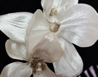 Orchid and Dogwood hair clip