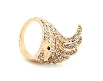 Rose Gold Bird Art Nouveau Ring