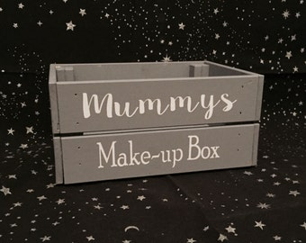 Personalised makeup storage crate, box mummys makeup, Choice of colours