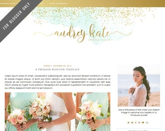 Blogger Template - Mobile Responsive & Dropdown Menu - INSTANT DOWNLOAD - Audrey Kate Theme