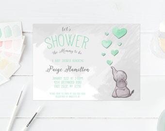 Baby Shower Invitation, Mint Green Baby Shower Invitation, Gender Neutral Baby Shower Invitation, Elephant Baby Shower Invitations [368]