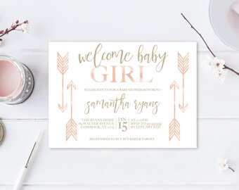 Baby Shower Invitation, Boho Baby Shower Invitations, Girl Baby Shower Invite, Boho Girl Baby Shower Invitation, Welcome Baby Girl