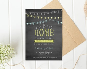 Housewarming Party Invitation, Housewarming Invitation, Printable Invitation, Our First Home, Our New Home, Chalkboard Housewarming [90]