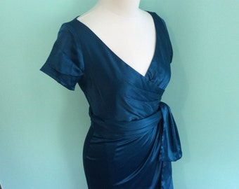 1950 Hollywood inspired Teal Faux Wrap Front Wiggle Dress with Wrap Belt Size M