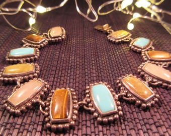 Native American Sterling Sillver Multi Gemstone Bracelet