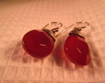 Cool Retro Sterling Silver Maroon Gemstone Earrings