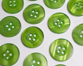 20pcs Green Buttons - 4 Hole Buttons - Plastic Buttons - Resin Buttons - Semi Transparent - 15mm Buttons - Sewing Buttons - B11488