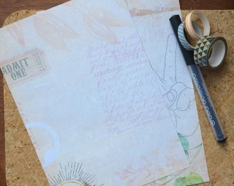 Double Sided Writing Paper-Stationery in Victoriana Style Collage