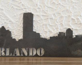 "Orlando skyline, Handmade, steel art work, skyscrapers, modern, 11x24"", Decor"