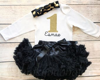 Personalised Black & Gold First Birthday Tutu Outfit, Glitter Number Onesie, Matching Headband Head Wrap Tie Scarf Baby Girl, 1st Cake Smash