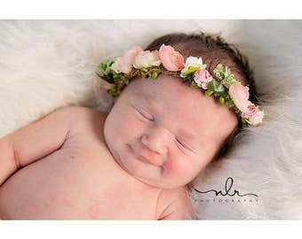 Infant Flower Crowns, Flower Halos, Baby Flower Crowns, Baby Flower Halos