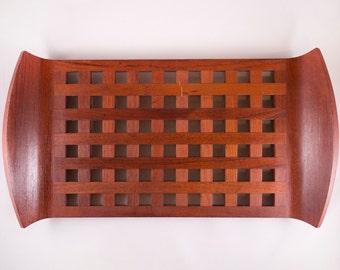 Dansk Teak Lattice Tray Designed by Jens Quisgaard Made in Denmark Danish Mid Century Modern