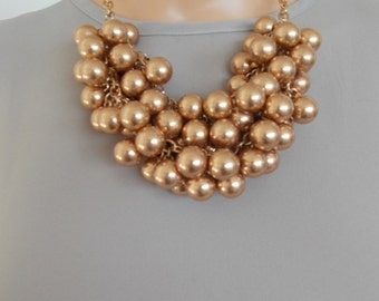 Chunky Rose Gold Bauble Beaded Statement Necklace