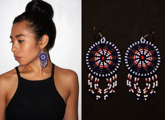 Small Native American Beaded Sun Earrings, Small Medallion Earrings, Huichol Earrings, Morning Star Earrings, Beaded Lightweight Medallions