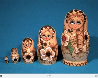 Russian Nesting Set of Dolls. Known as matryoshkas in the USSR. Era 1980s.
