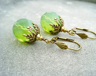 Green dangles czech beads earrings green vintage earrings light green  dangle earrings