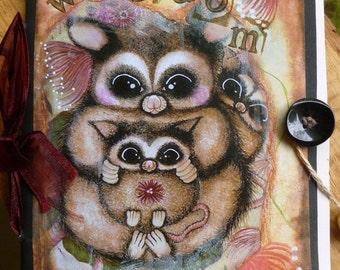Notebook, Handmade Notebook, Cute Notebook, Possum Notebook, Possum, Whimsical, Office, Stationary, Children, Rustic Notebook, Flower Notes