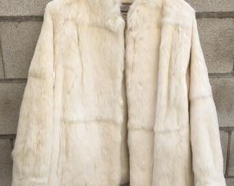 Vintage 100% Genuine Rabbit Fur Coat Ivory Mod Bride Coat