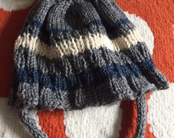 Fur topped childrens knit winter hat