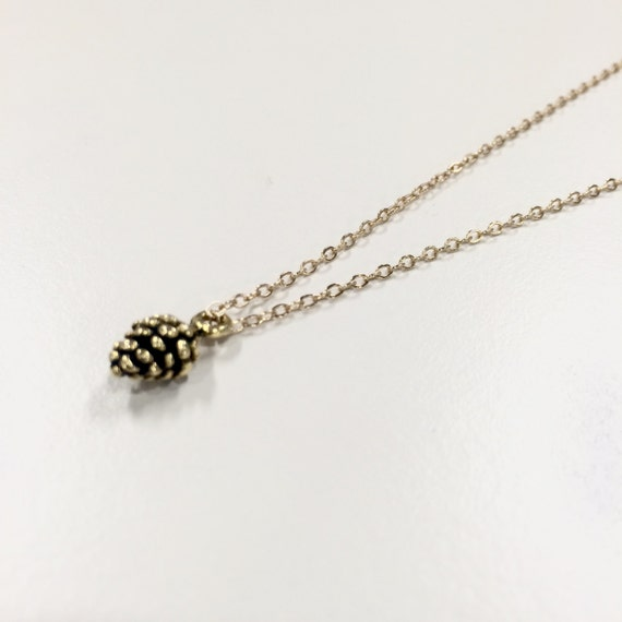 """Dainty gold coloured pinecone necklace on 17"""" chain"""