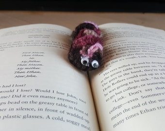 "Pink, Brown, light pink, and tan book mark ""bookworm"""