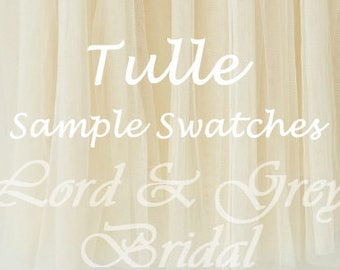 Tulle Samples Swatches, Bridal Veil Sample, Tulle Swatch, Bridal Illusion Tulle Sample, Tulle Swatches, Veil Samples
