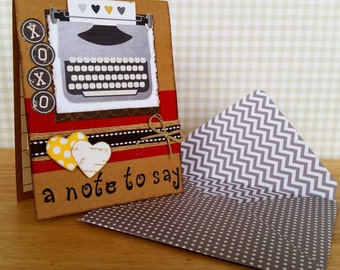 Valentine's Day Card, I Love You Card, Typewriter Card, Valentine Card, Card for Valentine, Sweetheart Card, Handmade Valentine, XOXO Card