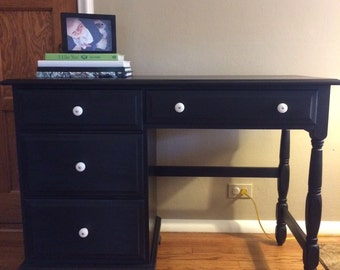 AVAILABLE: Black Pedestal Desk / Vintage / General Finishes / Milk Paint / Moosehead Maine / Office Furniture/ Barrington IL