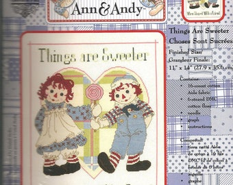 Raggedy Ann & Andy Cross Stitch Kit, Things Are Sweeter, Janlynn 77-106, New in Package
