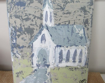 Handpainted Canvas, White Church on Canvas, Handpainted Church, 8x10 Local Painting, Church Painting, Hand-Painted Church, Nashville Artist