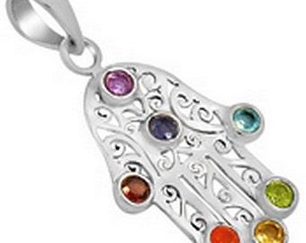 HAND of FATMA jewel charkas 7 natural stones, balancing reiki, lithotherapy JA29