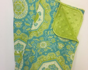 Elephant Gender Neutral Baby Blanket, Minky Blanket, Nursery Bedding, Bohemian,  Jaipur, turquoise and chartreuse, Green apple Minky