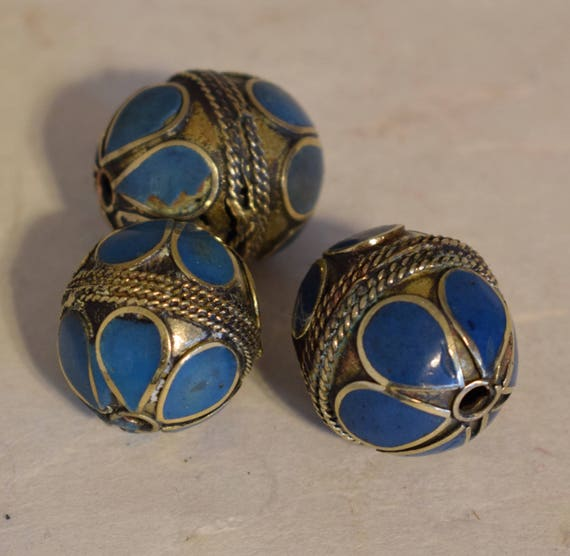 Beads Middle Eastern Turquoise Brass Oval Beads Handmade Handcrafted 3 Lot Turquoise Beads Brass Crafts Jewelry Beads