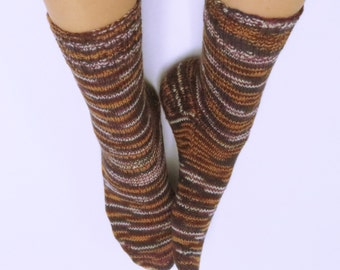 Hand Knitted Socks for Women. Wool and Nylon.