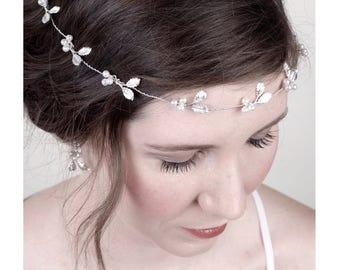 Boho Bridal Silver Hair Vine, Sash Belt, Pearl Silver Wedding Halo, Bridal Hair Crown, Silver Hair Accessory, Headpiece 2(S)
