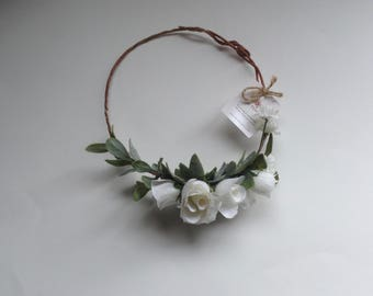 "40% OFF - Our ""Catherine"" Rose Flower Crown, White or White & Pink, Floral Crown, Flower Crown, Silk Rose Crown, Boho Floral Crown,"