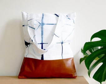 Leather & Shibori Tote Bag // Angled Grid Print